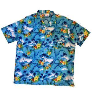 Islander Hawaiian Shirt Vintage 1970s Blue XL